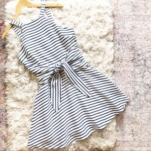 J.O.A. | White Blue Striped Tie Front Dress Small